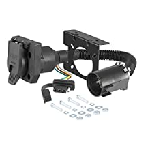 CURT 55774 Dual-Output Vehicle-Side Trailer Wiring Harness Connectors for Select USCAR Vehicles, 7-Pin Trailer Wiring, 4-Pin Trailer Wiring,Black