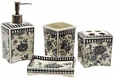 PEIWENIN-Cuarto de baño Cuarto de baño Cuatro piezas de lavado de cerámica Cuberturas de lavado cepillo de dientes Suministros de baño Set Azul y blanco porcelana patrones Regalos de boda Regalos de l