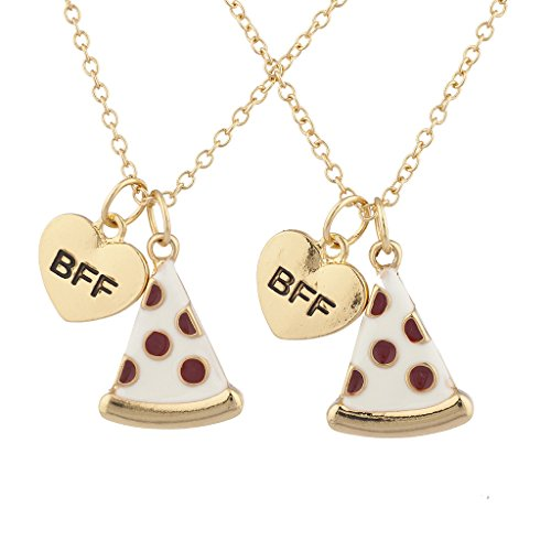 Lux Accessories Goldtone Enamel Pizza Emoji BFF Best Friend Forever Necklace 2Pc
