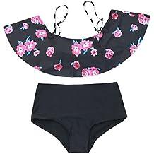 PENATE Women Sexy Bikini Set 2 Pcs Flower Bra&Trunks Bathing Swimsuit Beachwear