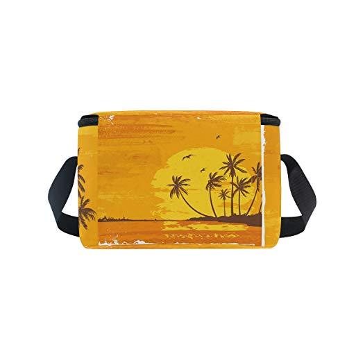tropicale plage nique soleil sur pique Sac lunch de pour Bandoulière déjeuner Coucher Boîte avec à Cooler palmiers à wxwqYR0