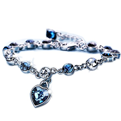Sekluxy ocean hearts love bracelet with swarovski crystal for L love jewelry reviews