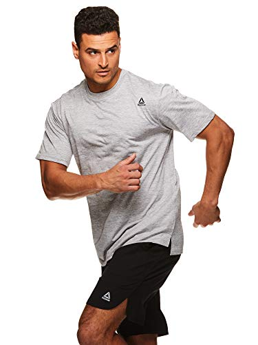 Reebok Men's Supersonic Crewneck Workout T-Shirt Designed with Performance Material - Power Boost Sleet Heather Grey, X-Large