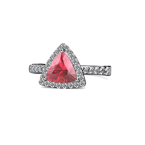 TriJewels Pink Tourmaline and Diamond Halo Engagement Ring 1.50 cttw in 14K White Gold.size ()