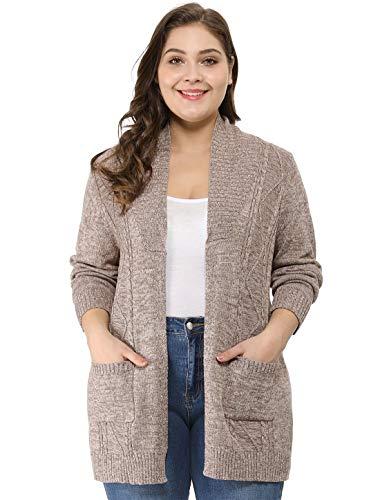 Agnes Orinda Women's Plus Size Lightweight Open Front Sweater Cardigan 2X Brown
