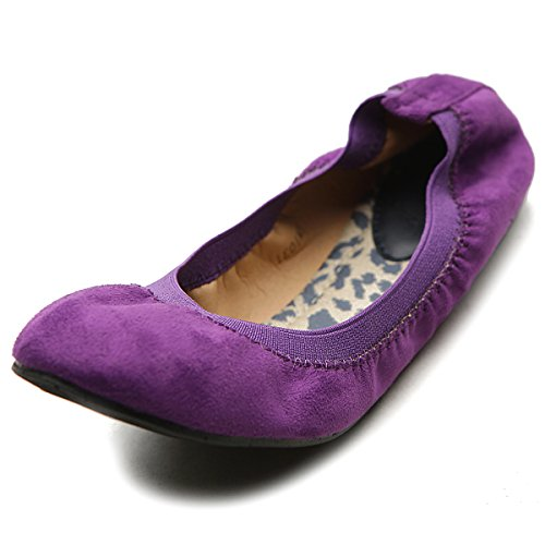 Ollio Women's Ballet Shoe Cute Comfort Faux Suede Multi Color Flat (8.5 B(M) US, Purple)