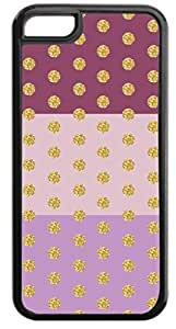 Colorblocked Stripes and Glitter PRINT Polka Dots (Purples) - Case for the APPLE IPHONE 4, 4s-Hard Black Plastic Outer Case with Tough Black Rubber Lining