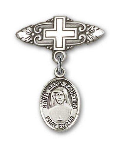 Icecarats Créatrice De Bijoux En Argent Sterling St. Maria Faustina Broche De Badge Charme Avec Une Croix X 3/4