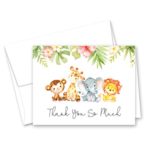 Jungle Animals Baby Shower Thank You Cards - Set of 50]()