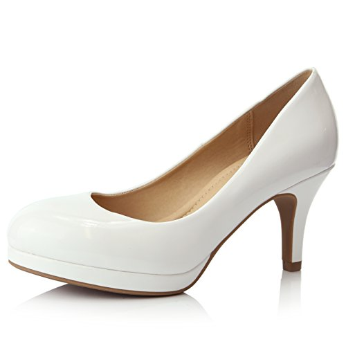 DailyShoes Women's Classic Ankle Strap Platform Low Heels Round Toe Party Dress Pumps Shoes, White Patent Leather, 9 B(M) US (White Patent Footwear)