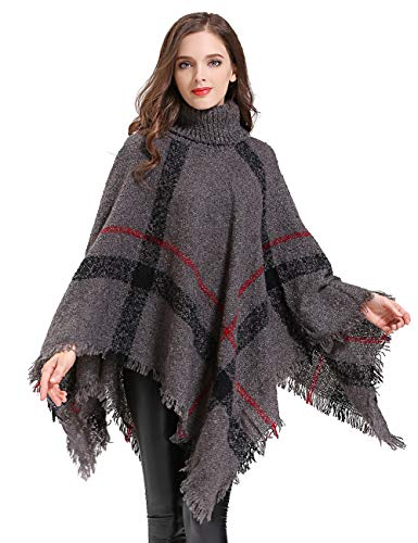 HITOP Womens Dress Ponchos, Boho Loose Tassel Plaid Poncho Turtleneck Jumper Knit Oversized Pullover Sweater Tops for Women Gray ()