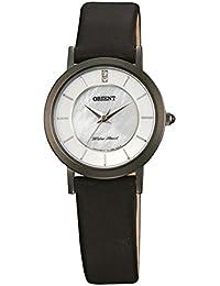 Womens Dressy 28mm Black Leather Band IP Steel Case Quartz White Dial Analog Watch FUB96002W