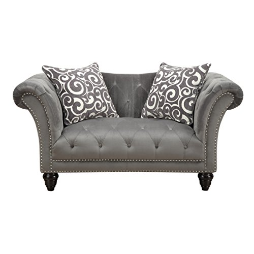 Emerald Home Hutton II Thunder Bella Gray Loveseat, with Pillows, Button Tufting, Nailhead Trim, And Turned Legs