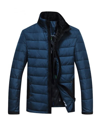 Coat Blue Queenshiny Thicken Jacket and Down Short lighter Men's Dark qxx7ptvz