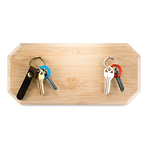 Magnetic Key Holder for Wall or Fridge - Incredibly Strong Magnets Hold Your Heaviest Keychains - Modern Upgrade for Your Old Key Hook (Natural)