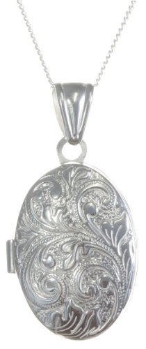 Women's Classical 925 Sterling Silver Locket Necklace, 34x18mm, 18
