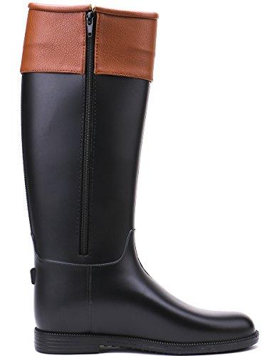 TONGPU Women's Fashion Tall Knee-High Leather Wrap Waterproof Wellies Rain Boot Black Vq33wp