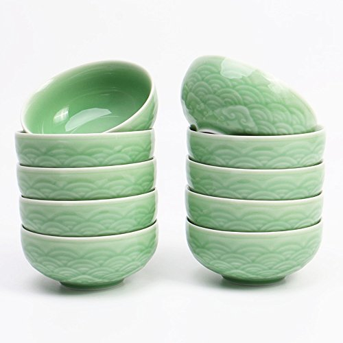 Chinese Rice Bowls 10-Ounce Celadon Glazed 4.5Inch Cereal Bowl with Emblazonry(Set of 4) (Green01) ()