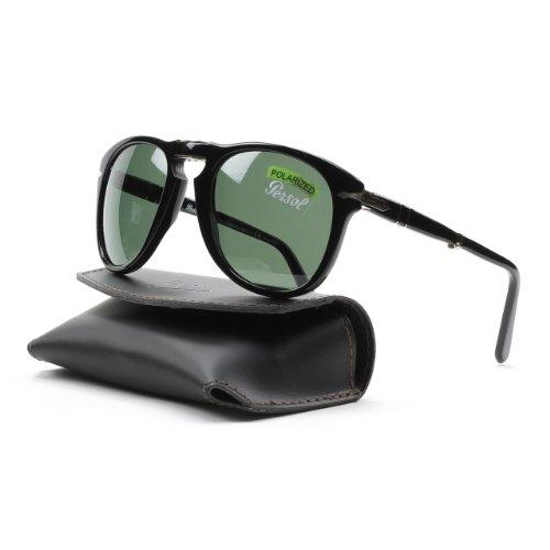 Persol Sunglasses 0714 / Frame: Black Lens: Crystal Green Polarized (54mm)