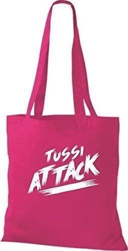 ShirtInStyle Bolsa de tela Bolsa de algodón Tussi Ataque - fucsia, 38 cm x 42 cm Fucsia