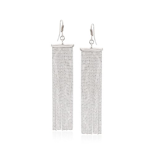 Ross-Simons Italian Sterling Silver Bead Chain Fringe Earrings Diamond Cut Bead Fringe
