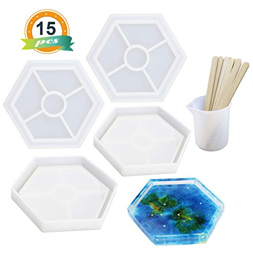 Resin Silicone Molds LET'S RESIN Silicone Molds for Coasters, Epoxy Resin Molds, 4Pcs Hexagon Molds with 1Pcs Silicone Mixing Cup,10Pcs Wood Mixing Sticks (The Coasters The Very Best Of The Coasters)