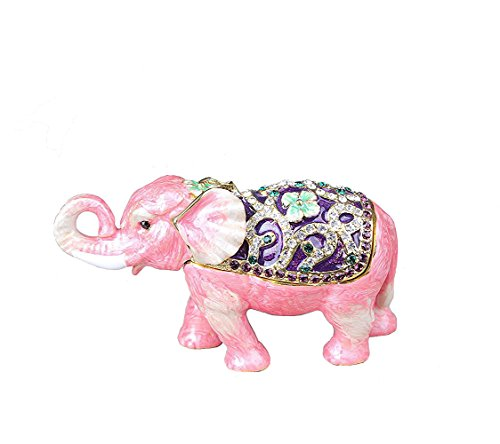 znewlook Elephant Trinket Box Mini Elephant Figurine Statue (Pink) ()
