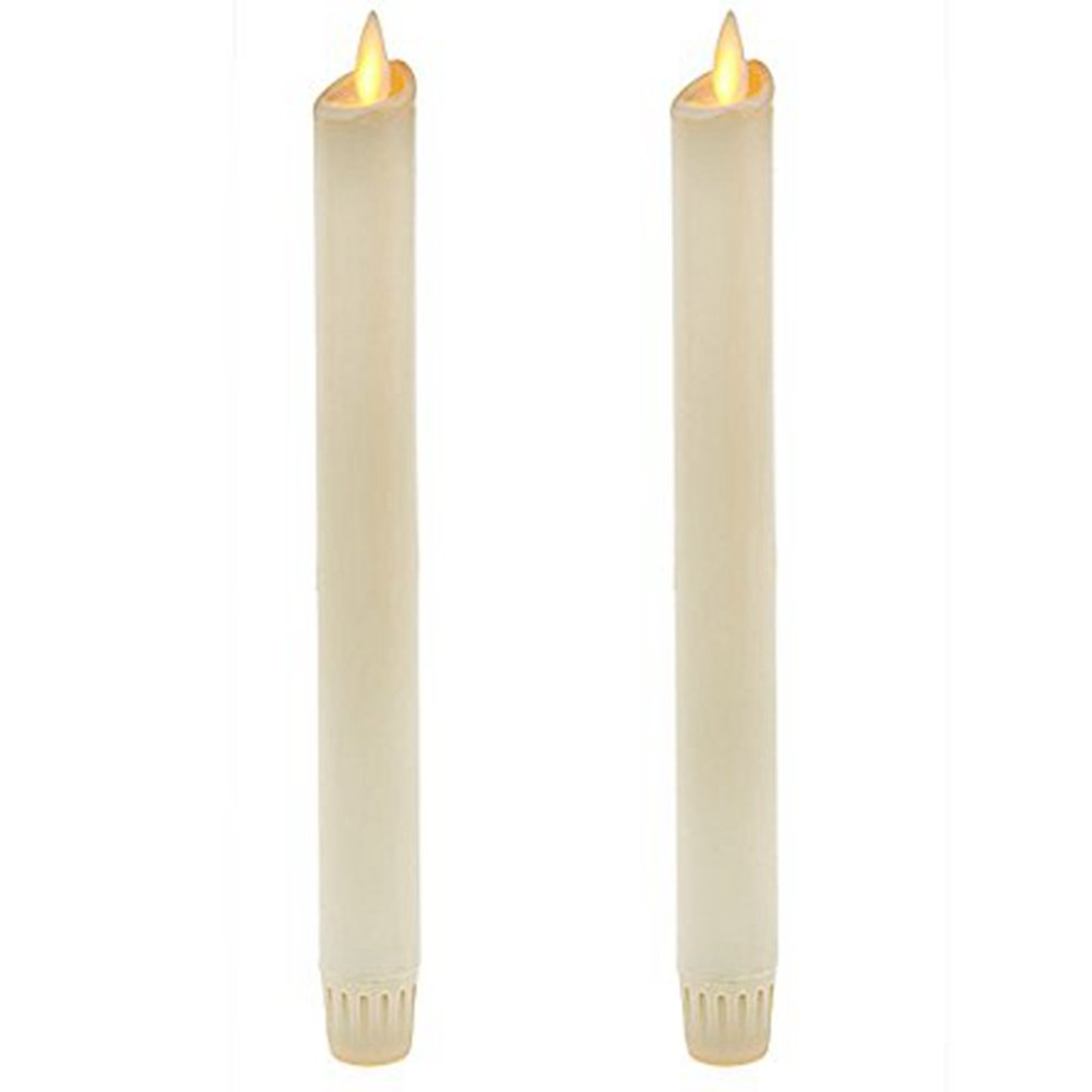 Ksperway 8'' Set of 2 Ivory Unscented Wax Flameless Taper Candles, Battery Operated,Moving Wick,LED Candle Set with Timer and Remote