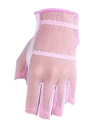 (HJ Glove Women's Pink Solaire Half Length Golf Glove, Medium, Left Hand)