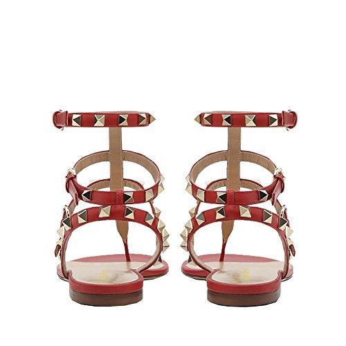 Lutalica Mode Féminine T-Strap Cloutés Confort Occasionnels Appartements d'été Sandale Chaussures Rouge NCN7L