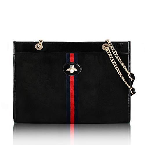 Beatfull Designer Soft Tote Handbag for Women, Fashion Tiger Top Handle Bag Shopping Shoulder bag Tote Set Purse (black-bee)