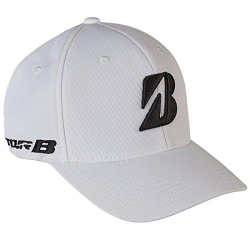 """Bridgestone Golf """"Tour B"""" Tour Fitted FlexFit Cap Hat, White, Large-XLarge"""