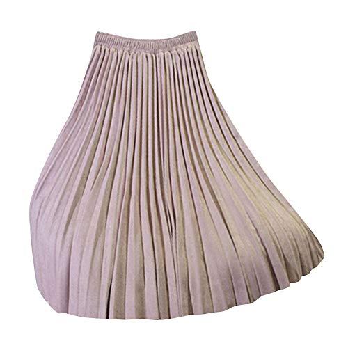 Jupe De Dames Taille Haute Lache Mode Dcontracte Jupe Confortable Jupe Plisse Pink