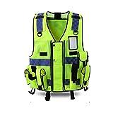 WBBFGF Multi-Functional Reflective Vest, Multi-Pocket Vest Traffic Motorcycle Riding Reflective Traffic Clothing Safety Clothing Fluorescent Yellow (Size : 2 Packs)