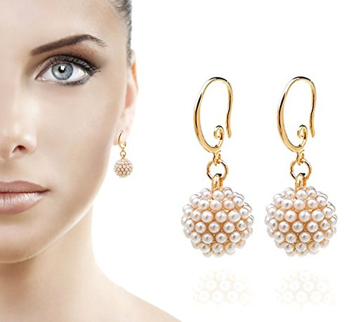 TS Luxury Pearl Inlaid Fireball Spherical Drop - Faux Bridal Pearl Earrings