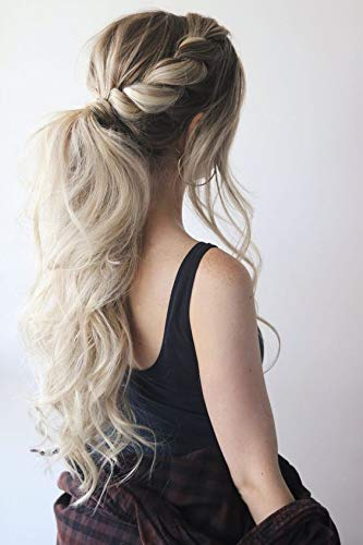 Full Shine Balayage Long Straight Wrap Around Ponytail Hair Color #8 Brown Fading to #60 Plautinum Blonde 20 Inch One Piece 100 Gram Pince D'extension Queue De Cheval ()