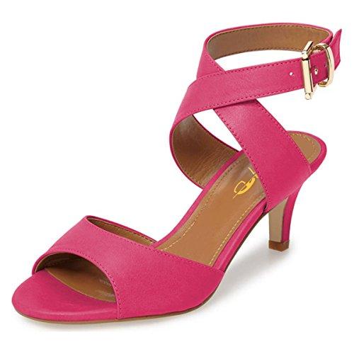 XYD Women Low Kitten Heel Sandals Peep Toe Ankle Wrap Slingback Pump Shoes with Buckle Size 7 (Buckle Slingback Sandal)