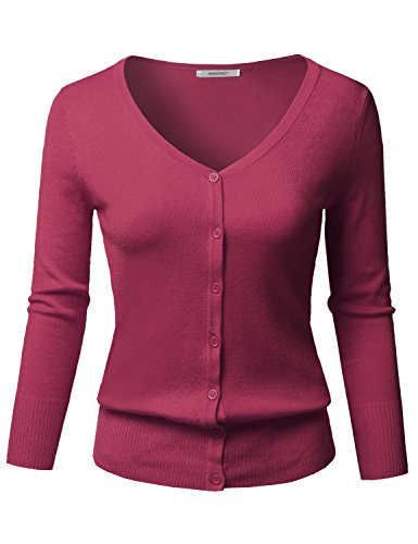 Solid Button Down V-Neck 3/4 Sleeves Knit Cardigan Berry -