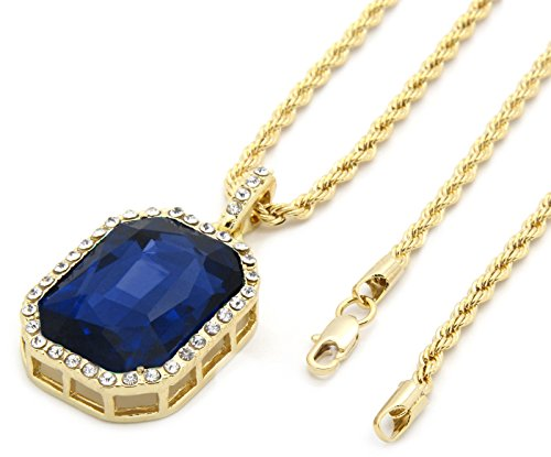 Gold Plated Hip Hop Chain - FOONEE Mens Gold Tone Iced Out Blue Ruby Octagon Pendant with 3mm 24