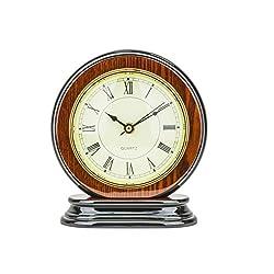 Mantel Clock 8.0 H x 7.0 L x 3.5 W Quartz, Round Decorative Shelf Clock, Fireplace Wood Antique Vintage Clocks, Battery Operated (Battery NOT INCLUDED)