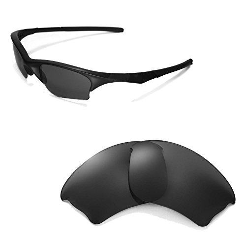 Walleva Replacement Lenses for Oakley Half Jacket XLJ Sunglasses -Multiple Options Available (Black - - Lenses Half Replacement Oakley Jacket