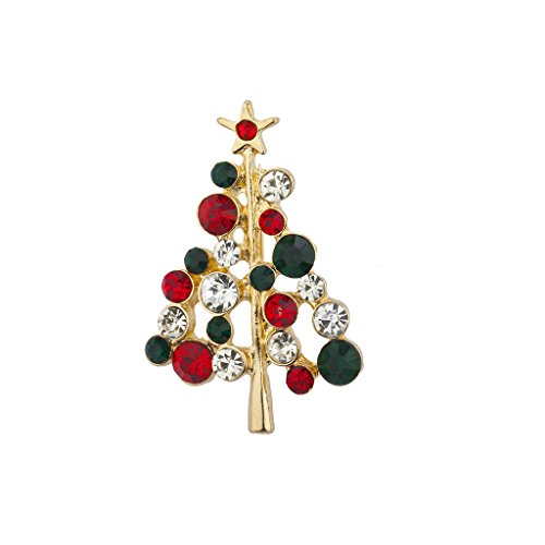 Crystal Rhinestone Christmas Tree Pin - Lux Accessories Holiday Red Green Crystal Rhinestone Christmas Tree Brooch Pin