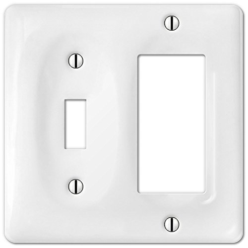 Allena 3020TRW - 1 Toggle / 1 Rocker Wallplate in White Ceramic