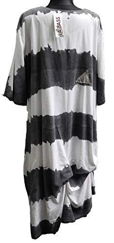 56 54 Streifen A Viskose grau Gr 52 weit Stil Kleid Weiss Lagenlook Übergröße PBPw7