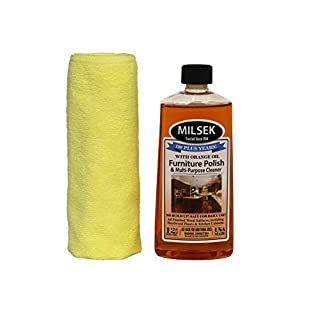 Milsek Furniture Polish and Cleaner with Orange Oil & Microfiber Cleaning Towel, 12-Ounce, ORT-1