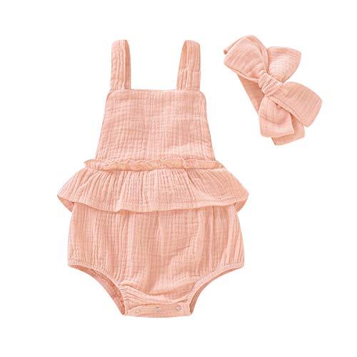 (BabiBeauty Twins Baby Girls Sleeveless Romper Infant Girls Ruffles Jumpsuit Onesies with Headband (Pink1, 100/18-24 Months))