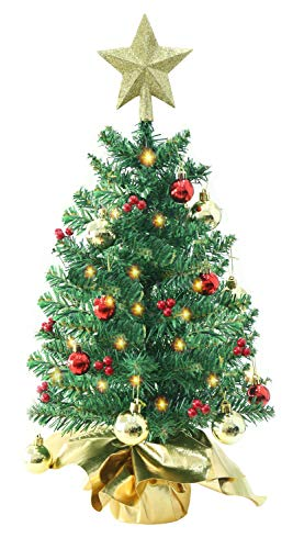 Liecho 24 Inch Tabletop Mini Christmas Tree, Miniature Pine Christmas Tree with Hanging Ornaments, Battery Operated Artificial Xmas Tree, Best DIY Christmas Decorations (Tabletop Tree Pre Christmas Decorated)