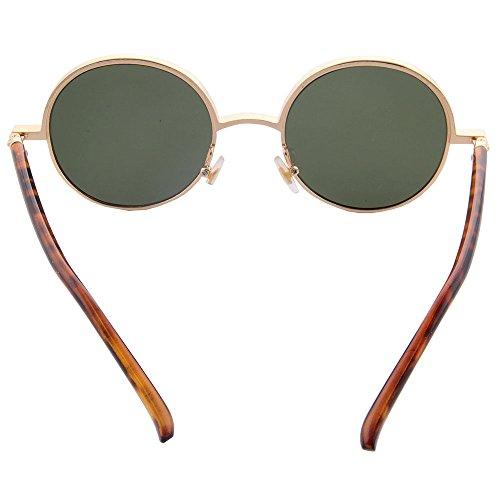 metal círculo los las gafas Retro hombres oro de para Lennon de de sol Leopardo Vintage Style redondo Ogobvck inspiró y mujeres wFqB8fxf
