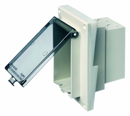(Arlington DBVR141C-1 Low Profile IN BOX Electrical Box with Weatherproof Cover for Retrofit Siding Construction, 1/2-Inch Lap, Vertical, Clear)