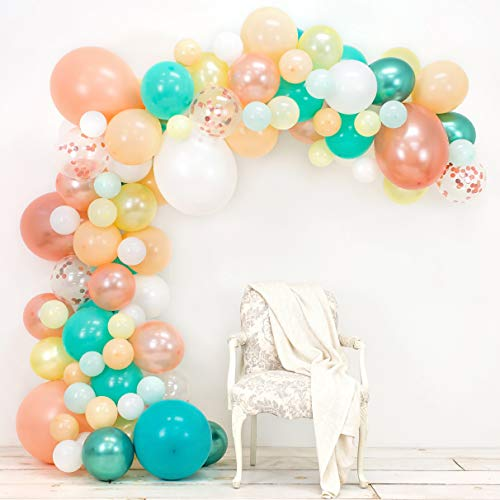 (Junibel Balloon Arch & Garland Kit | Blush, Rose Gold Confetti, White, Chrome Sea Foam, Pastel Yellow | Glue Dots & Decorating Strip | Holiday, Wedding, Baby Shower, Anniversary & Party Decorations)